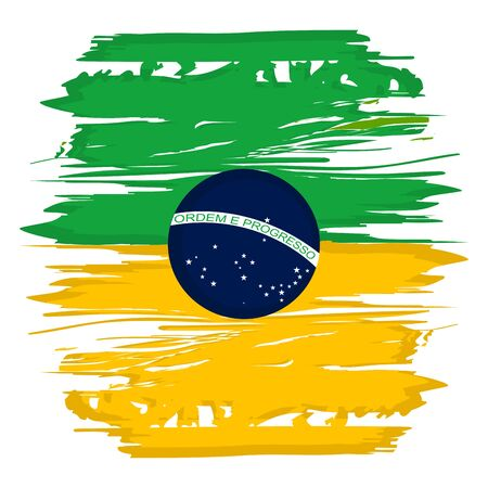 Illustration for Flag watercolor of Brazil on a white background - Vector illustration - Royalty Free Image