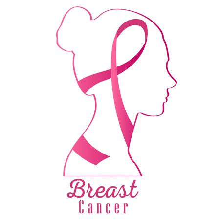 Illustration pour Breast cancer poster with an awareness ribbon - image libre de droit