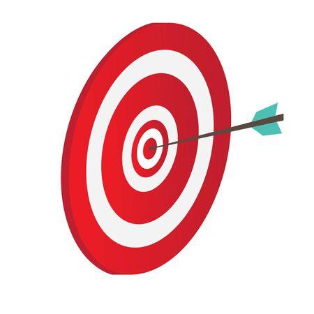 Illustration pour Archery target icon with an arrow - Vector illustration - image libre de droit