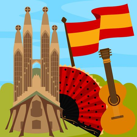 Ilustración de Travel to Spain poster with the Sagrada Familia church - Vector - Imagen libre de derechos