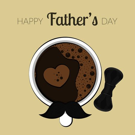 Illustration pour Happy fathers day card with a coffee cup, mustache and bowtie - image libre de droit