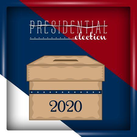 Illustration pour Ballot box in a presidential election poster - Vector illustration - image libre de droit