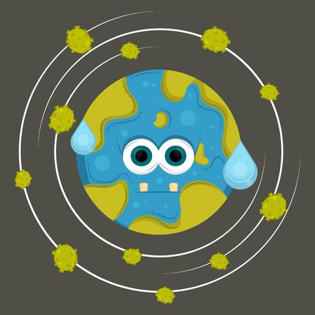 Sad Earth Cartoon Vector