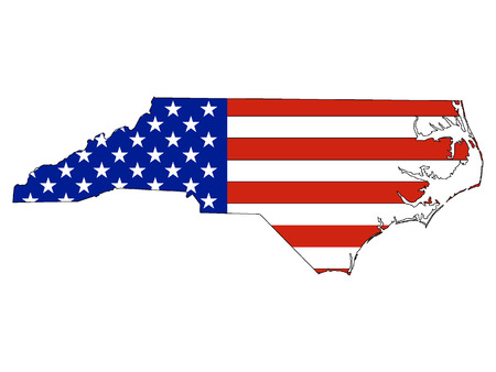 USA Flag with Map of US Federal State of North Carolina ...