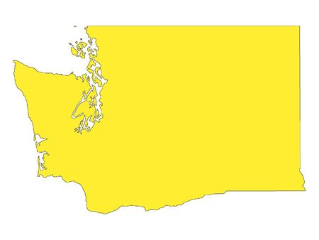 Yellow Map of USA Federal State of Washington: Royalty-free ...