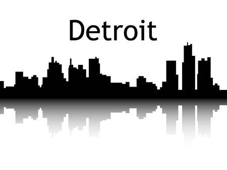 Illustration pour Silhouette Skyline of Detroit, Michigan - image libre de droit
