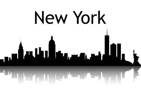 Illustration pour Silhouette Skyline of New York City, New York - image libre de droit