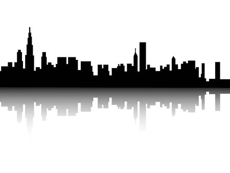 Illustration for Silhouette Skyline of Chicago, Illinois - Royalty Free Image