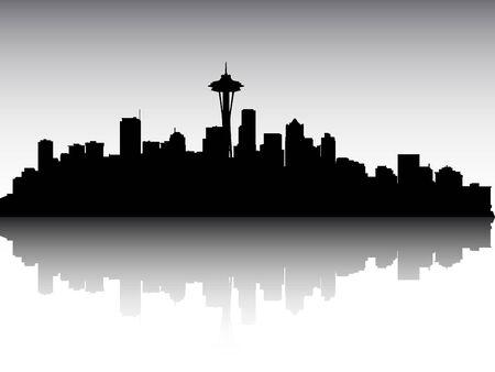Illustration pour Panoramic Silhouette Skyline of the City of Seattle, Washington - image libre de droit