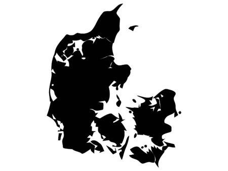 Illustration for Black Silhouette Map of Denmark - Royalty Free Image