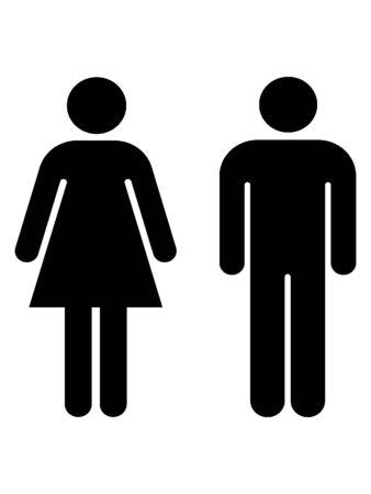 Ilustración de Black and White Silhouette of a Toilet Symbol - Imagen libre de derechos