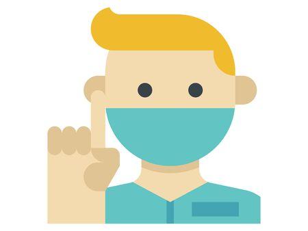 Clip-art Illustration of Doctor Advising During Corona-virus Pandemic