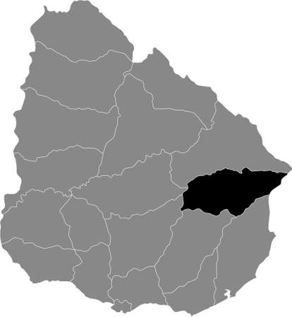 Black Location Map of the Uruguayan Department of Treinta y Tres within Grey Map of  Uruguay