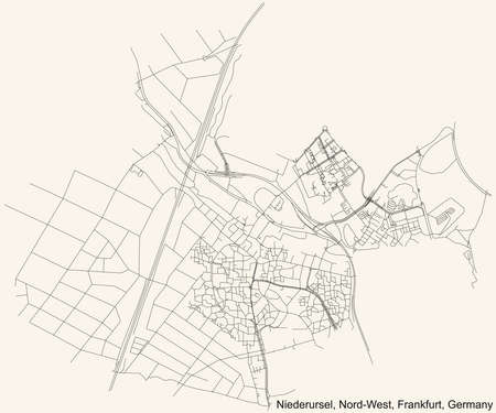 Illustration pour Black simple detailed street roads map on vintage beige background of the neighbourhood Niederursel city district of the Nord-West urban district (ortsbezirk) of Frankfurt am Main, Germany - image libre de droit