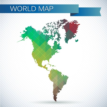 Western Hemisphere globe. Bright vector map of the world. North America, South America and Greenland
