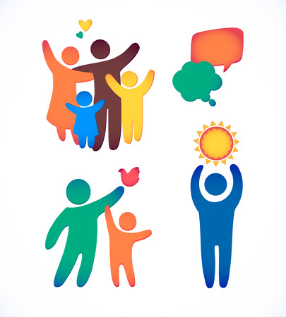 Foto de Happy family icon multicolored in simple figures set. Children, dad and mom stand together. Vector can be used as logotype - Imagen libre de derechos