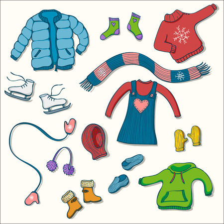 Illustration for Winter clothing set of vector illustrations. Collection of warm clothes: jumper, coat, scarf, gloves and hats in colorful hand drawn style - Royalty Free Image