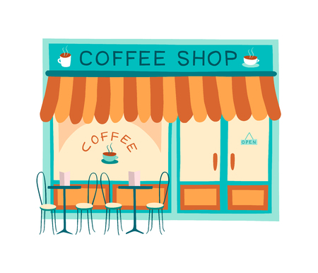 Illustration pour Coffee shop front vector illustration on flat style. Colorful drawing of the front of cafe and restaurant. - image libre de droit