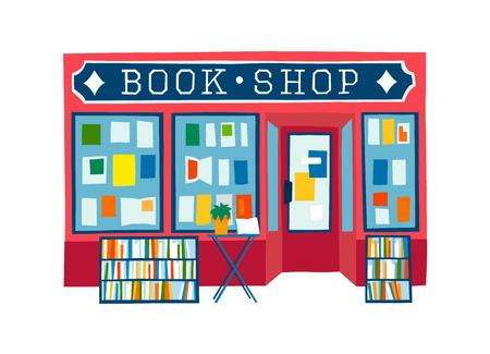 Illustration pour book shop front vector illustration. Colorful flat style facade of book store - image libre de droit