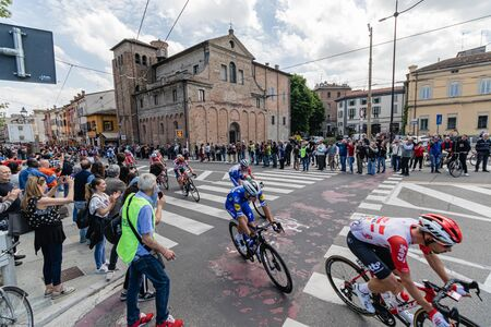Parma, Italy - May 22, 2019: Giro d'Italia crosses Parma city center, Piazzale Santa Croce