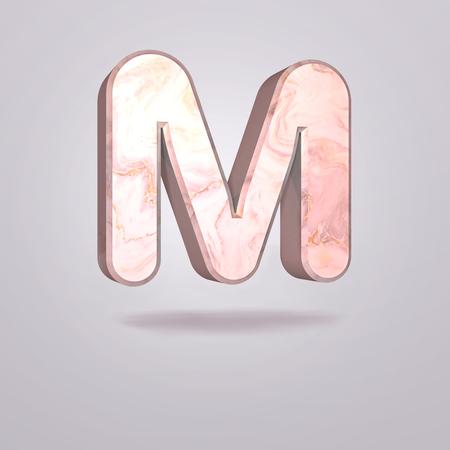 Foto de Abstract 3d capital letter M in pink marble. Realistic alphabet on modern font, isolated gray background. Vintage poster. Art design. 3d rendering - Imagen libre de derechos