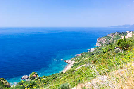 Photo pour Panoramic view of beautiful landscape mountains and coastline azure sea. Aerial skyline of beaches and Adriatic coast, Montenegro - image libre de droit