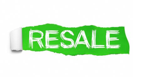 Foto de RESALE text, Inspiration, Motivation and Business concept on Green torn paper. - Imagen libre de derechos