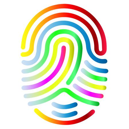 Illustration pour Color fingerprint symbol shape. Abstract vector fingerprint icon Biometric security sign. - image libre de droit