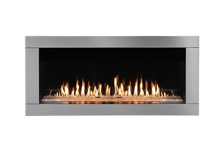 Photo for Burning gas fireplace isolated on white background. - Royalty Free Image
