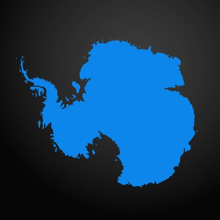 Illustration pour Antarctica map icon isolated on black background. Travel worldwide icon. - image libre de droit