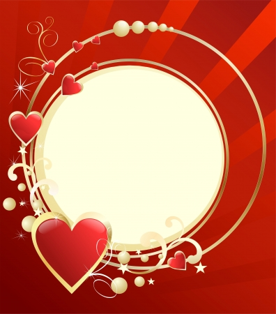 Abstract background with gold hearts on a circular basis
