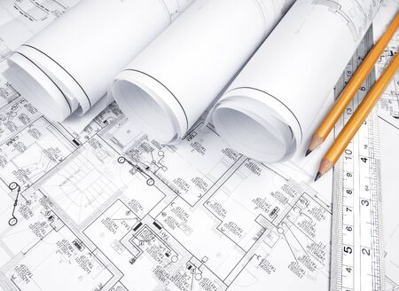 Photo pour High angle view on the plan of electrical installation - image libre de droit