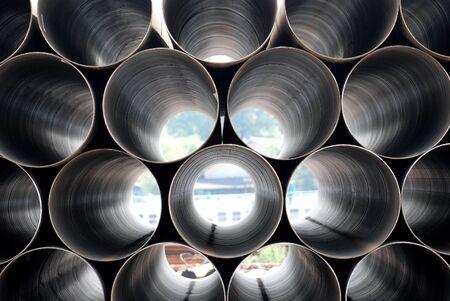 Foto für Stack of iron pipes. Industrial material - Lizenzfreies Bild