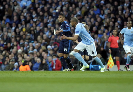 MANCHESTER, England - April 26: in action during the semi final of the UEFA Champions League first leg between Manchester City and Real Madrid at the Etihad Stadium April 26, 2016 Manchester, England © Laurent Lairys / Agency Locevaphotos / Alamy Stock n