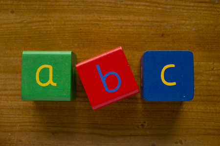 Colorful wooden blocks spelling the word ABC