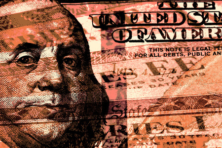 Double exposure one hundred dollar bill and US treasury savings bond
