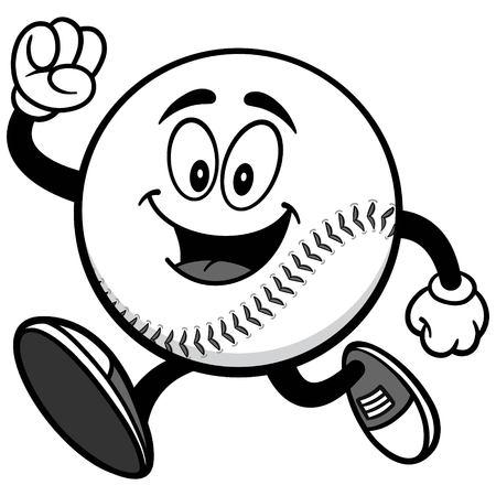 Baseball Mascot Running Illustration
