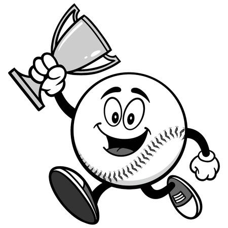 Baseball Mascot Running with Trophy Illustration