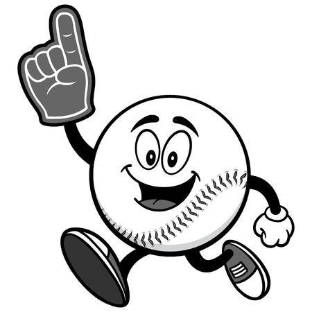 Baseball Mascot Running with Foam Finger Illustration