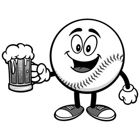 Baseball Mascot with Beer Illustration