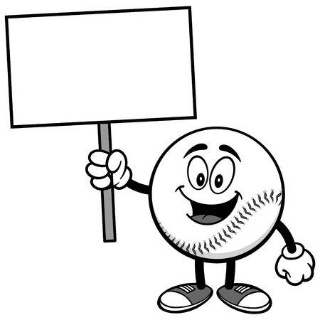 Baseball Mascot with Sign Illustration
