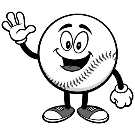 Baseball Mascot Waving Illustration