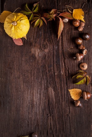 Ornament with pumpkin, acorns and autumn leaves on old wood as backgroundの写真素材
