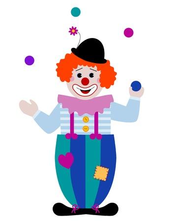 A clown juggling colorful balls
