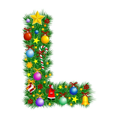 Letter L - Christmas tree decoration - Alphabet