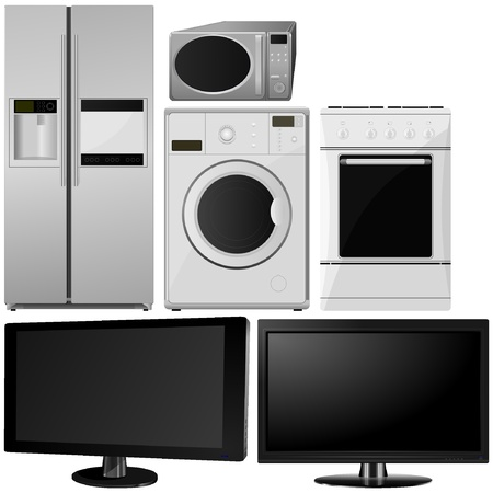 set of of household appliances. vector