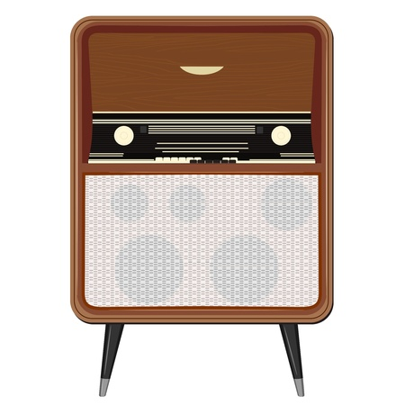 Illustration for Vector illustration of an old radio on the legs - Royalty Free Image