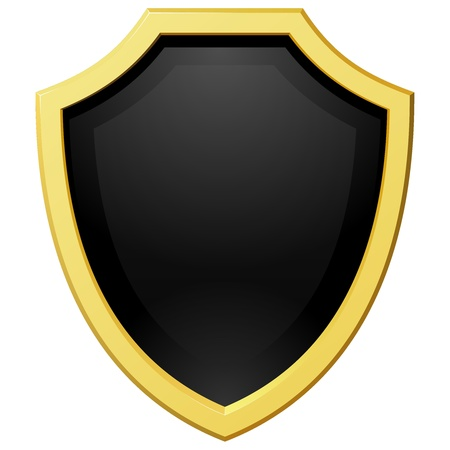 Vector illustration golden shield with a dark background