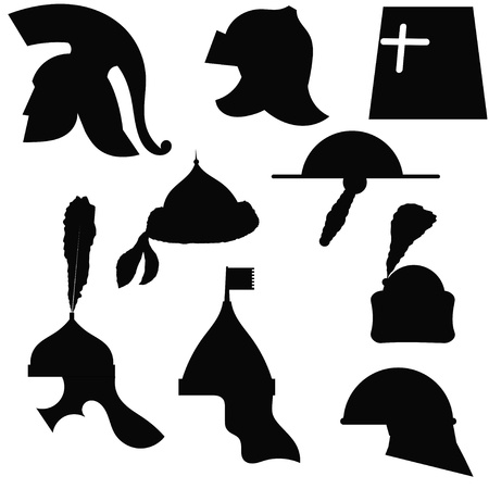 A set of silhouettes of medieval military helmets