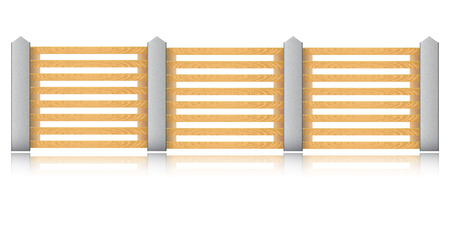 Wooden fence with concrete columns on a white background.